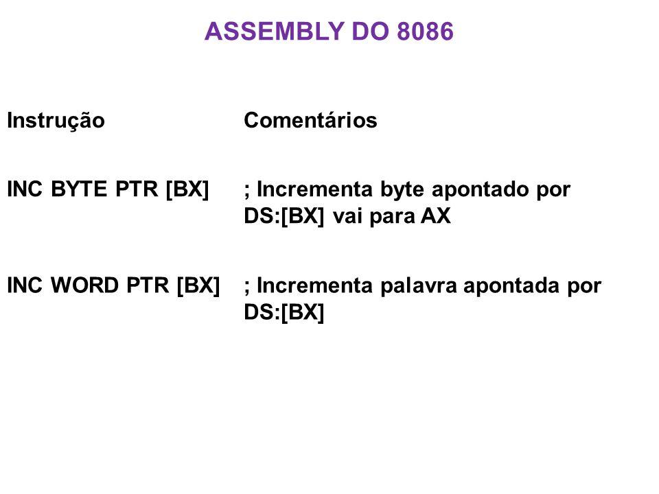 Assembly do 8086 Instrução Comentários INC BYTE PTR [BX]